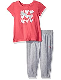 PUMA 女童2件套 t恤和七分裤慢跑裤集