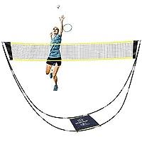 SUNBA 青年羽毛球网,便携式羽毛球网套装,带支架便携袋,可折叠网球排球网,适合室内户外运动,无需工具或桩
