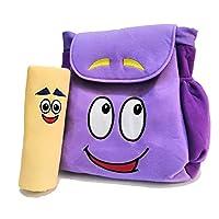 XKYMADE 12 英寸多拉探险者背包救援包带地图,幼儿园玩具紫色毛绒背包 Dora Plush Backpack