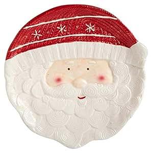 Holly Hill 节日朋友电缆陶瓷饼干盘,10.25 英寸 Santa Clause