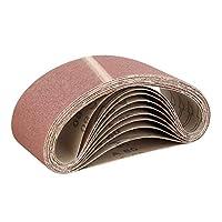 ABN 皮带砂纸磨砂皮带用于皮带磨砂机,氧化铝砂皮带 3x18 英寸 10 件装 80 Grit 9904