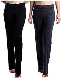HDE 女式孕妇瑜伽裤修身喇叭折叠孕妇打底裤 2 条装(黑色和炭灰色)