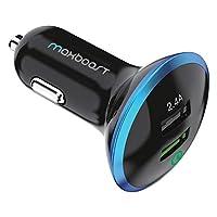 maxboost Quick Charge 2.0车载充电器通用 USB 2.4A 快速充电端口 [ QUALCOMM 认证 ] 带 USB 连接线输出适用于 GALAXY S6, S6Edge PLUS , NOTE 54, nexus 6, iPhone 76/ 6S Plus