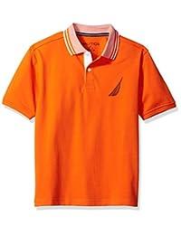 Nautica 男童短袖纯色甲板马球衫,带翻领