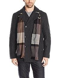 LONDON FOG 男式羊毛混纺双排扣大衣外套