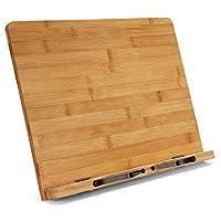 大号竹书架 - 可调节可折叠书架托盘带页夹子 - 可容纳食谱、收据书、课本、平板电脑、笔记本电脑、音乐书、文档 - 15.2 英寸 x 11.2 英寸主板