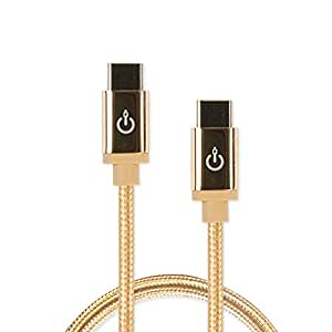 "CableLinx Elite USB-C 到 USB-C 充电和同步编织电缆 8"" 金色灰尘"