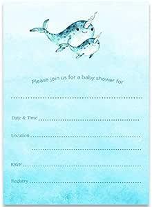 填入空白请柬,独角鲸婴儿洗澡,填充空白婴儿洗澡请柬,Mommy and Me,海洋宝宝洗澡,中性,24 个礼品包,白色信封