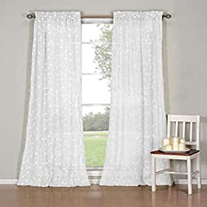 Duck River Textiles Kerr Leaf Braided Embroidery Faux Linen 2-Tone Rod Pocket Pair Panel, Window Curtain, 80X84 白色