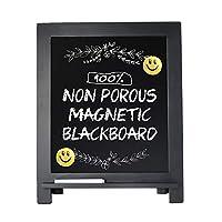 磁性黑板标志,38.10 厘米 x 30.48 厘米木质框架黑板带粉笔标记和 2 个表情符号,乡村风格粉笔板画架适用于菜单厨房婚礼农舍装饰品、桌面或墙壁悬挂陈列 黑色