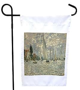 Rikki Knight 克劳德·莫奈艺术 Les Barques 房子或花园旗帜,11 x 11 英寸图像,12 x 18 英寸