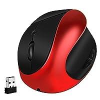 垂直鼠标无线人体工程学鼠标可充电 2.4G USB 光学小型垂直鼠标,带可调节 1000/1200/1600 DPI,6 个按钮可减少笔记本电脑的手/手腕* - 红色