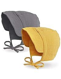 JELLYTREE 2 只装婴儿帽带帽檐帽透气双层纱布(棉)幼童帽,男婴女童无檐小便帽,4-20 米