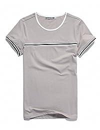 Goralon 夏季拼色t恤男韩版学生潮流纯棉T恤 百搭上衣男装圆领打底衫个性男T恤衫潮T汗衫