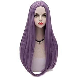 21 色长 65 厘米自然波浪耐热洛丽塔时尚女士角色扮演假发 + 假发帽 淡紫色