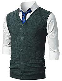 GIVON 男式修身休闲 V 领轻质针织纽扣背心,带假口袋设计