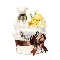 AngelCake 庆祝婴儿沐浴露 1层纸尿裤蛋糕 巧克力熊 男女兼用 帮宝适型纸尿裤M尺寸 棕色 OG-CB1