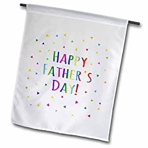 3dRose 快乐父亲节彩色彩虹文字多色五彩纸屑三角形花园旗,30.48 x 45.72 cm