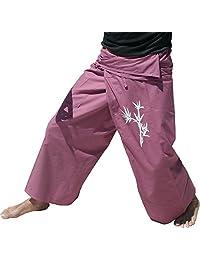 Raan Pah Muang RaanPahMuang 品牌薄款结实棉质渔夫包裹裤竹丝印花