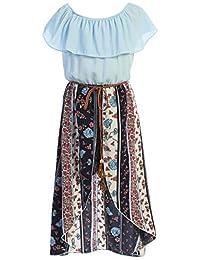BluNight Collection 小女孩 2 种方式褶皱 Hi Lo 超长裙连衫裤 连衫裤 美国 4-14