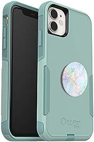 套裝:OtterBox 通勤系列手機殼 iPhone 11 - (薄荷色)+ PopSockets PopGrip - (透明)