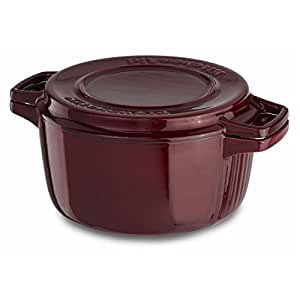 KitchenAid KCPI40CRRR Professional Cast Iron 4-Quart Casserole Cookware - Royal Red