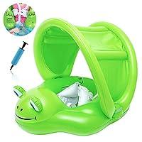 Delicacy 嬰兒泳池漂浮,充氣青蛙嬰兒游泳漂浮環,帶可拆卸頂篷和*底部支撐,適合 6-24 個月的寶寶