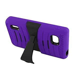 Eagle Cell Hybrid Skin Case with Stand for LG Optimus F3 - Retail Packaging - Purple/Black Stand
