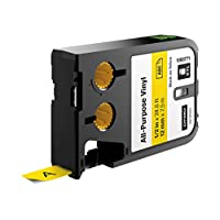 """DYMO 1868771 All-Purpose Labels for DYMO XTL Label Makers, 1/2"""" - Black on Yellow"""