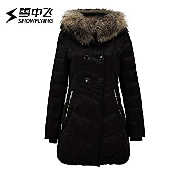 雪中飞中年女大毛领羽绒服中长款40岁妈妈加厚中老年短款保暖外套黑色 8056 165/88A
