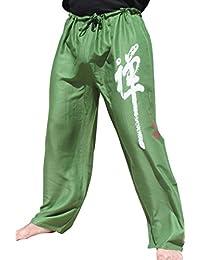 Raan Pah Muang Light 人造丝拉绳休闲蜥蜴裤中国禅意 书法