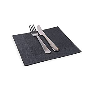 """Luxenap Air Laid Dinner Napkins - Soft and Durable 16"""" x 16"""" Black with White Threads Paper Napkins - Disposable and Recyclable ?? 25-CT ?? Restaurantware"""