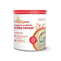 Happy Baby 婴儿谷物胆碱燕麦片1罐7盎司(198g)(6件)(包装可能会有所不同)(4-6个月及以上)