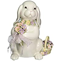 Cosmos Sa49123 精致陶瓷兔子花束音乐雕像,8 英寸