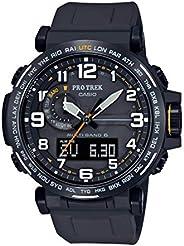 Casio 卡西欧 男式 Pro Trek 不锈钢石英手表硅胶表带,黑色,23.5 (型号:PRW-6600Y-1A9CR)