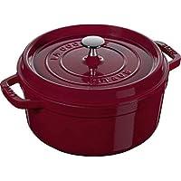 Staub 1102285 鑄鐵琺瑯鑄鐵鍋 圓形帶蓋子 帶啞光黑色琺瑯鍋內部 酒紅色 24 cm 40502-294-0