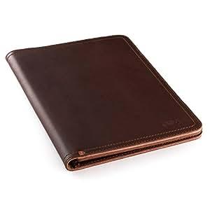 Saddleback Leather Co. 商务记事本夹全粒面皮革衬垫对开适用于法律垫,平板电脑和名片,100 年保修 中 栗色