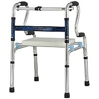 康健 带座铝合金助步器 可调节扶手架四角拐杖 助行器 蓝色(带坐垫)(亚马逊自营商品, 由供应商配送)