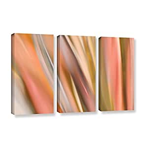 """ArtWall Cora Niele's Abstract Barcode 3 Piece Gallery Wrapped Canvas Set, 36 by 54"""""""