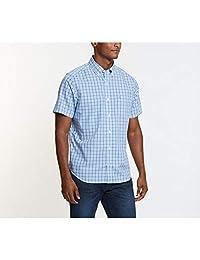 Nautica 男士抗皱短袖格子纽扣衬衫