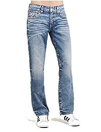 True Religion Men's Straight Leg Relaxed Fit Flap Reverse Logo Jeans in Desperado Ride