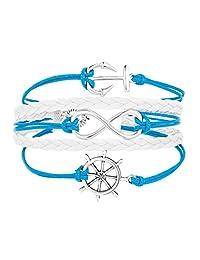 JewelryJo 吉普赛波西米亚风皮革缠绕吊坠手镯锚船方向盘*水手无限旅行标志