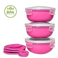 重型18/8不锈钢吸盘婴儿和学步宝宝喂食碗 粉红色
