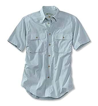 orvis男士衬衫纯棉短袖方领纯色双胸兜休闲衬衫O729V LIGHT BLUE M