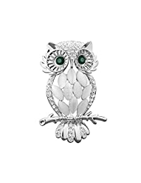 LuckyJewelry 复古廉价水晶水钻穿孔可爱绿色猫头鹰胸针和销销量 镀银色