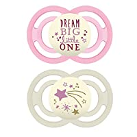 MAM Glow in The Dark 奶嘴,6 个月以上婴儿安抚奶嘴,优质舒适和口腔护理系列,女孩,2 只装
