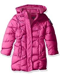 U.S. Polo Assn. 女童 加厚长款泡泡夹克,带人造毛皮帽,