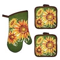 COCO 向日葵秋季烤箱手套和锅垫,向日葵厨房配件装饰包(3 件套)