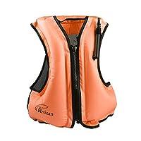 Rrtizan 成人充气游泳背心救生衣适合浮潜,适合体重 80-220 磅的体重 橙色 大