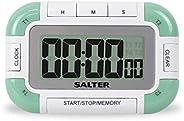 Salter 4 路数字厨房计时器 - 电子烹饪/烘焙秒表,4 个定时器带有单个大声蜂鸣音、内存功能、磁性/elf 支架,易读取 LCD,长达 99 小时 59 分钟 59 秒